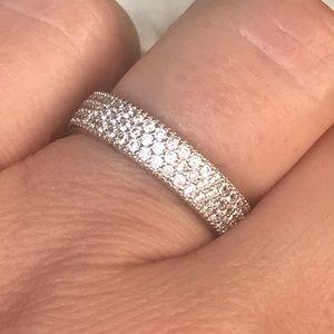 White gold diamond eternity band ring size 7